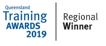 Queensland Training Awards 2019 'Regional Winner' badge